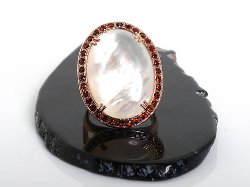 Oval White Cocktail Ring with Mabe Pearl and Garnet
