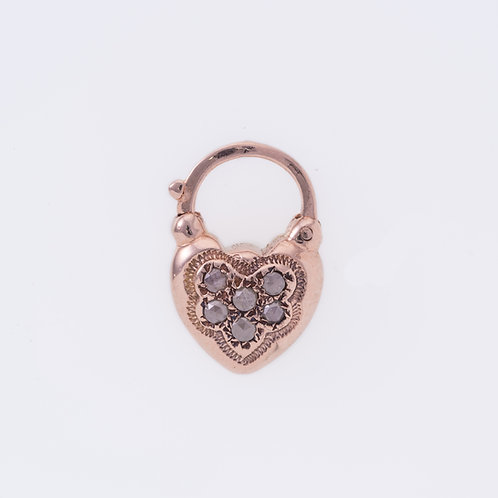 6 Rose Cut Diamonds Heart Padlock