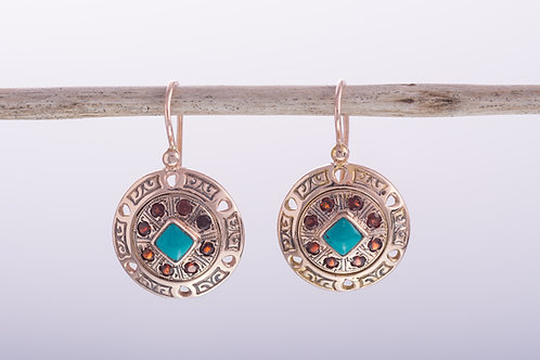 Turquoise and Garnet Round Earrings