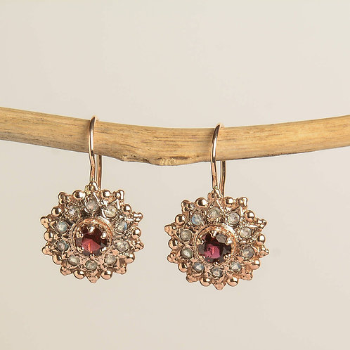 Garnet and Labradorite Drop Earrings