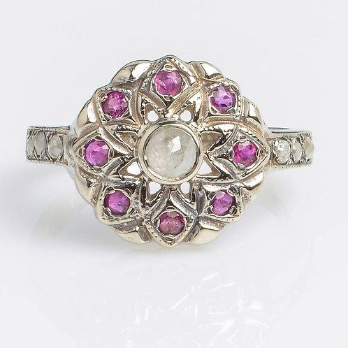 Ruby White Gold Flower Ring