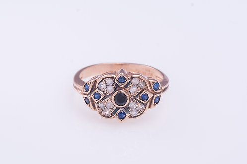 Onyx, Sapphire and Moonstone Statement Ring