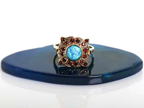 Vintage Inspired Ring with Garnet and Opal