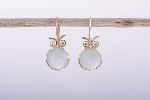 Round Milky Aquamarine Earrings