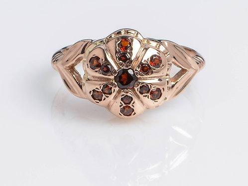 Raised Flower Garnet Vintage Ring