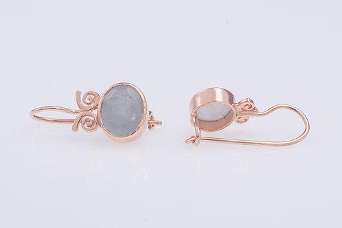 Oval Milky Aquamarine Earrings