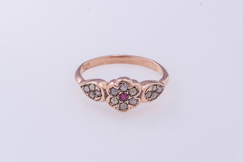 Ruby and Rose Cut Diamonds Flower Ring