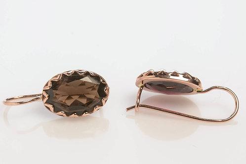 Oval Smoky Topaz Drop Earrings