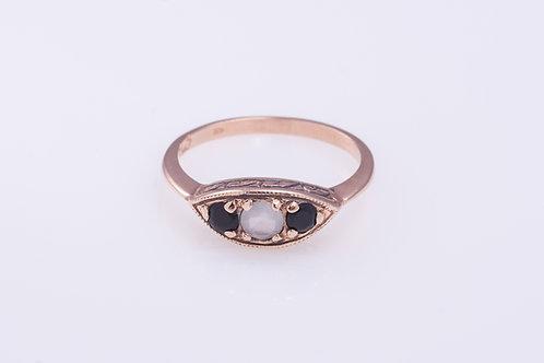 Aquamarine and Onyx Statement Ring