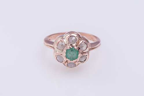 Flower Emerald and Rose Cut Diamond Ring