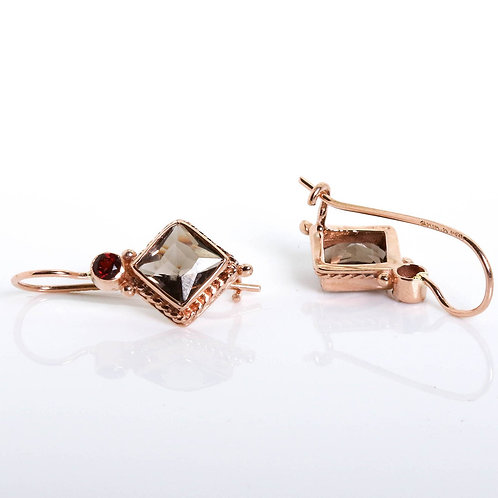 Victorian Style Earrings with a Rhombus Smoky Topaz