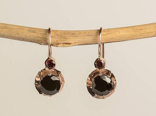 Victorian Style Drop Earrings with Garnet