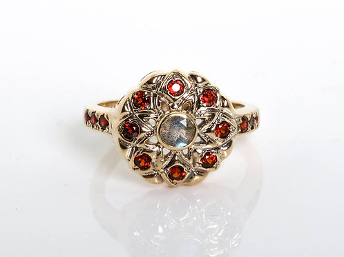 Labradorite and Garnet Flower Ring