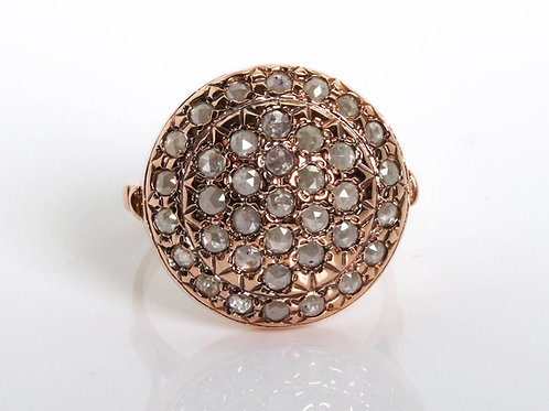 Rose Cut Cognac Diamond Round Cocktail Ring in 14k Rose Gold