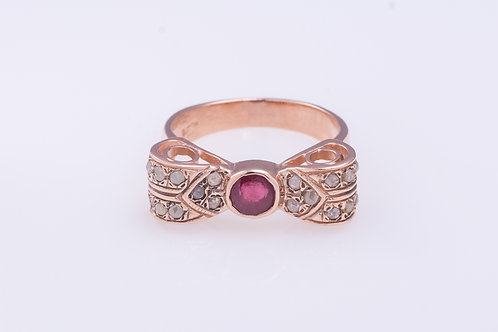 Ruby and Rose Cut Diamonds Bow Ring