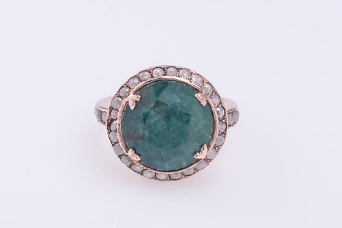 Emerald and Rose Cut Diamonds Cocktail Ring