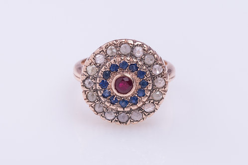 3-Gemstones Cocktail Ring