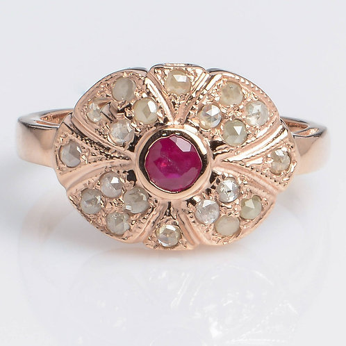 Ruby and Rose Cut Diamonds Ring