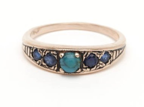 5 Stone Art Deco Ring with Sapphire and Turquoise