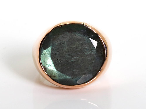 Round Green Labradorite Ring