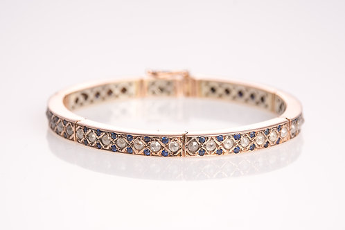 Sapphire and Rose Cut Diamonds Bracelet