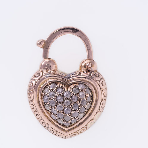 Rose Cut Diamonds Heart Padlock set in 14K Rose Gold
