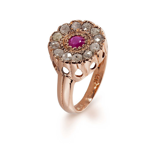 Pink Ruby Gold Ring