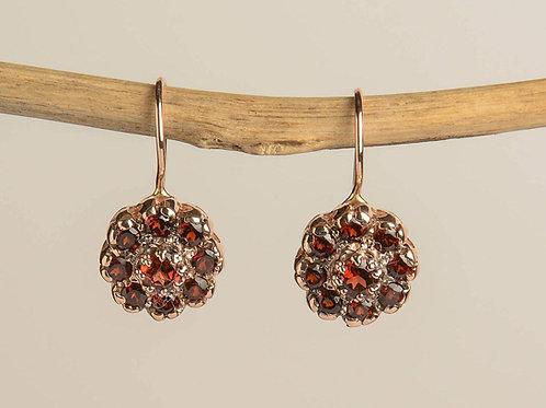 Flower Shaped Garnet Drop Earrings