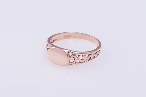 Oval Disc Rose Gold Ring