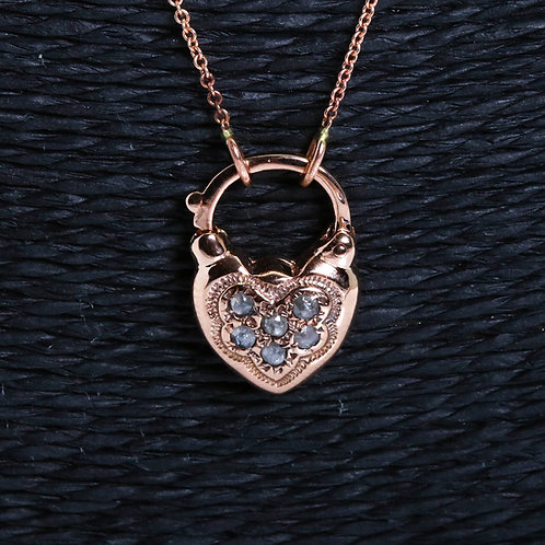Necklace with a Heart Padlock set with Rose Cut Diamonds