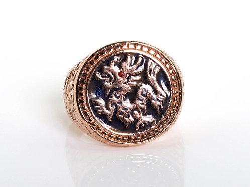 Vintage Unisex Round Dragon Enamel Ring