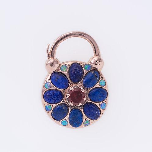Lapiz Lazuli, Opal and Garnet Flower Padlock