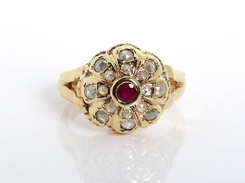 Ruby and Diamonds Raised Flower Ring