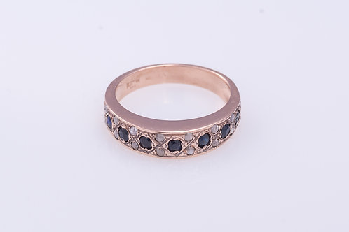 Sapphire and Rose Cut Diamonds Stackable Band