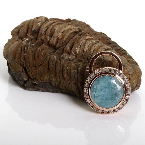 Round Aquamarine and Diamonds Blue Padlock
