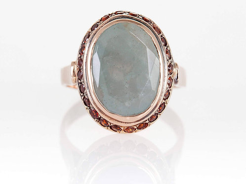 Rose Gold Ring with Aquamarine and Garnet