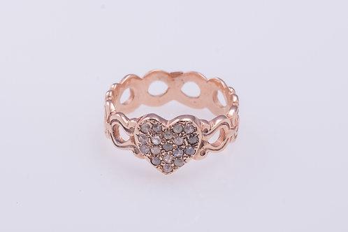 Rose Cut Diamonds Heart Ring