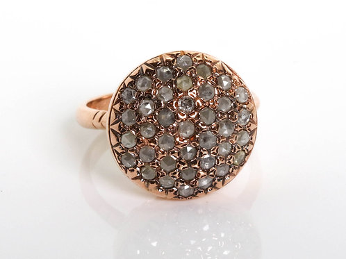 Round Pave Diamond Ring in 14K Rose Gold