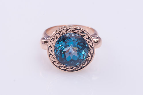 Deep Blue Topaz Round Ring
