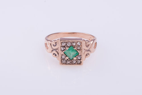 Square Emerald and Rose Cut Diamonds Ring