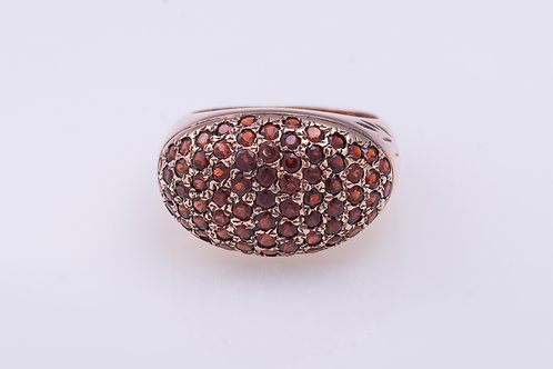 Garnet Pave Petal Gold Ring