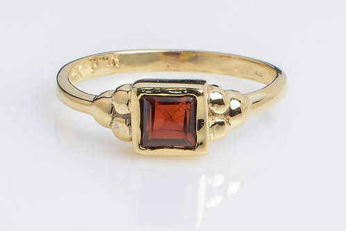 Square Ring with Garnet