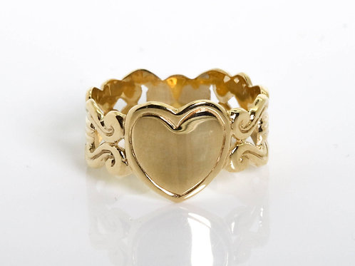 Vintage Heart Gold Ring