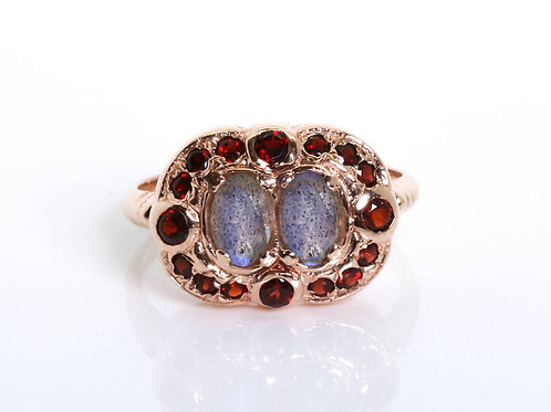 Art Deco Garnet and Labradorite Ring