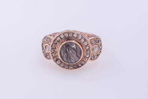 Round Black Rutil Quartz & Rose Cut Diamonds Ring