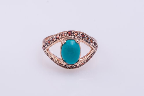 Turquoise and Garnet Grand Protection Ring