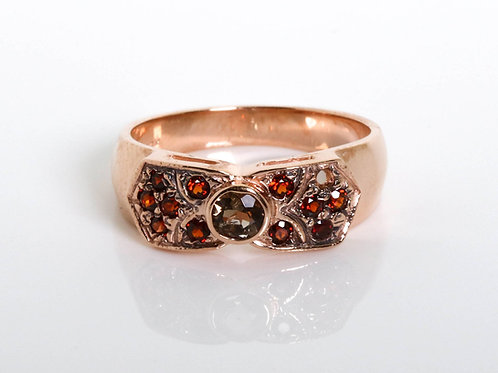 Flower Pattern Ring with Garnet Stones and Smoky Topaz