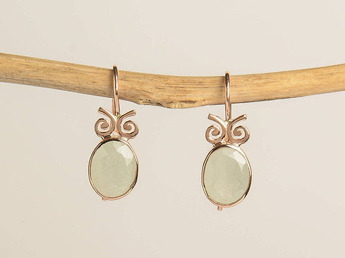 "Oval Aquamarine with ""bow tie"" decoration Drop Earrings"