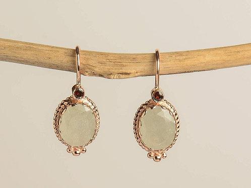 Oval Opal Dust with a small Garnet Drop Earrings