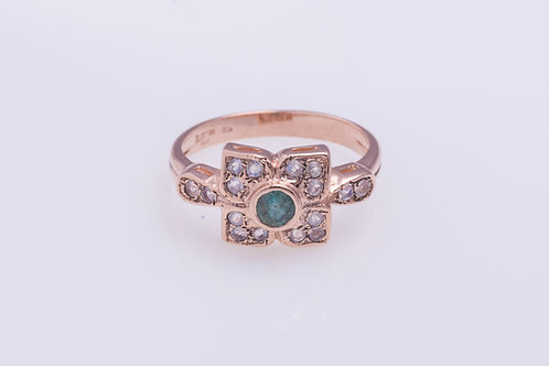 Emerald and Moonstone Flower Ring